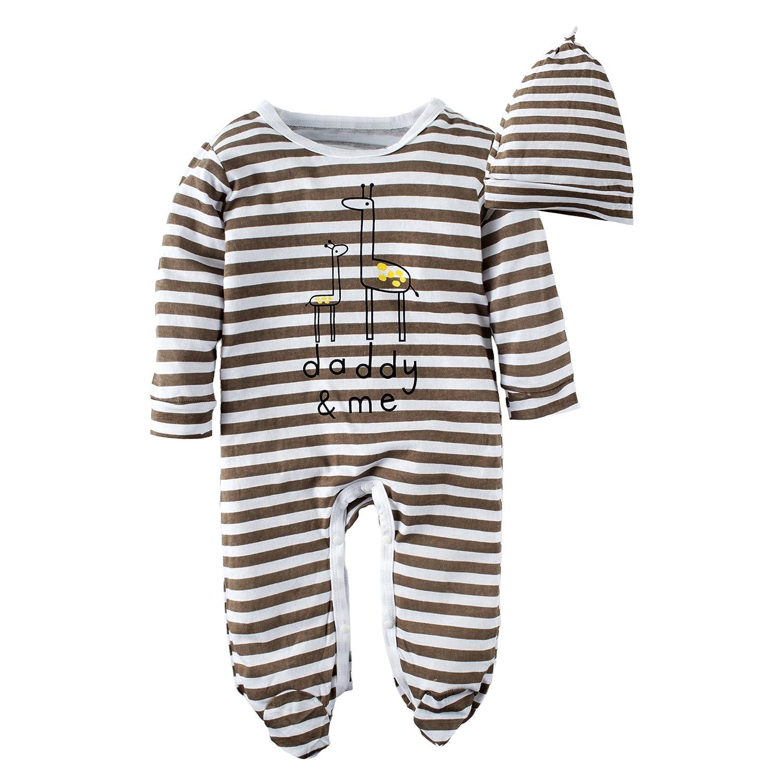 BIG ELEPHANT Baby Boys' Long Sleeve Romper Pajama Clothes G82A