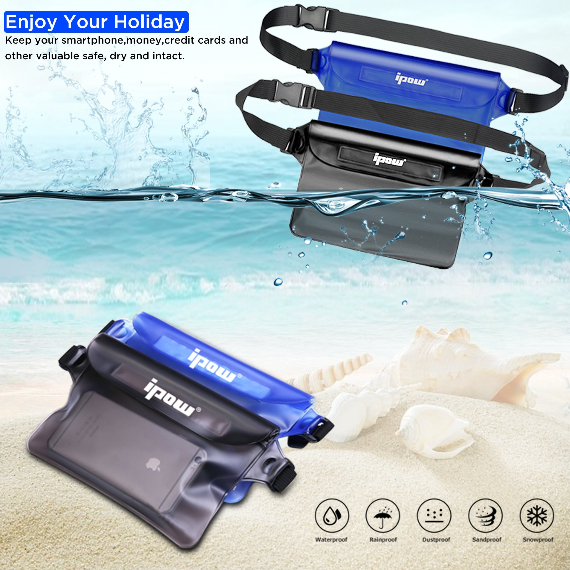 IPOW IP68 Waterproof Pouch with Waist Strap (2 Pack) | Best Way to Keep Your Phone and Valuables Safe and Dry | Perfect for Boating Swimming Snorkeling Kayaking Beach Pool Water Parks by IPOW (Image #2)