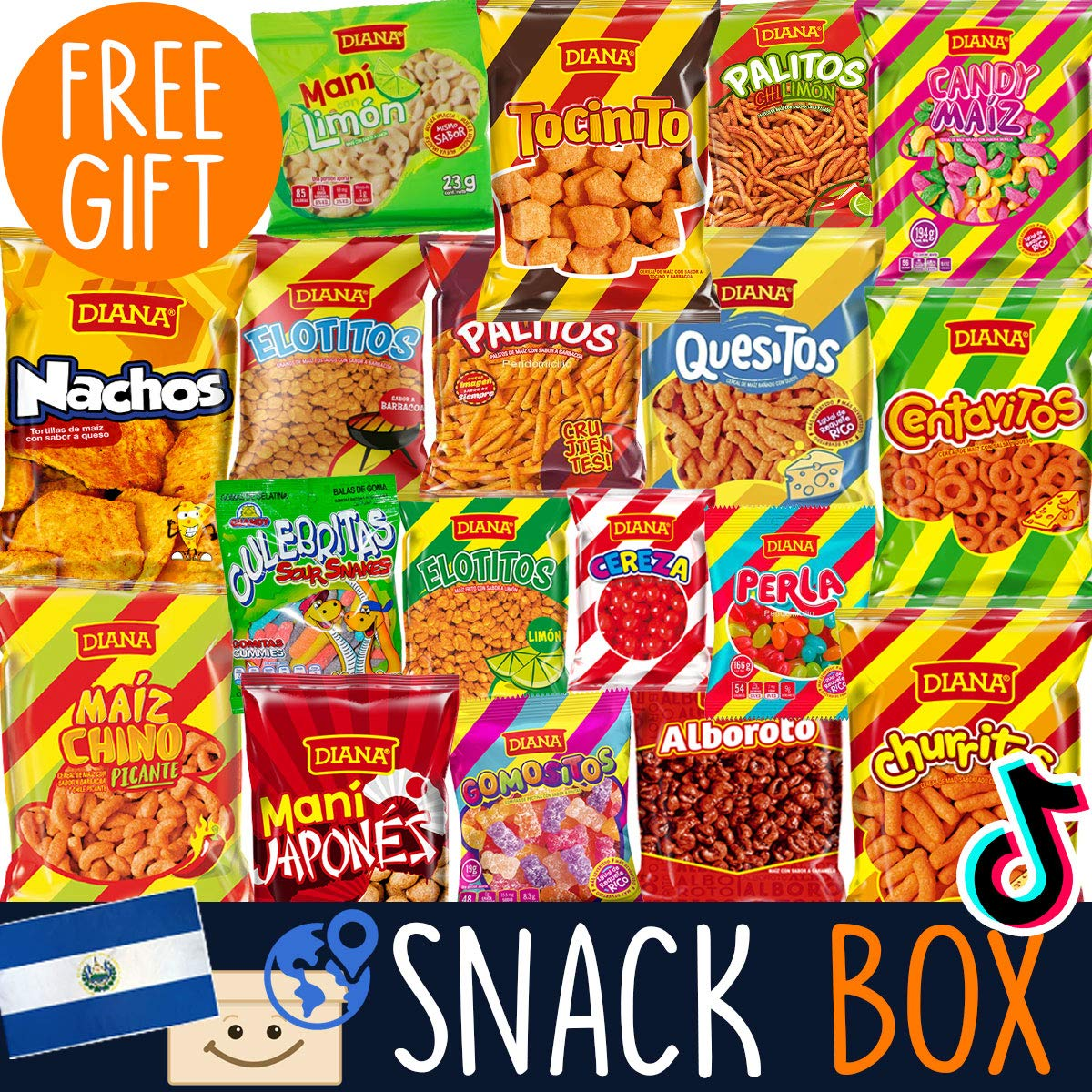 International Snack Box from Around the World + FREE Surprise! - Foreign Munchies Snack Mix from El Salvador - Weird Food - Exotic Snacks Variety Pack for Adults & Kids - Subscription Boxes
