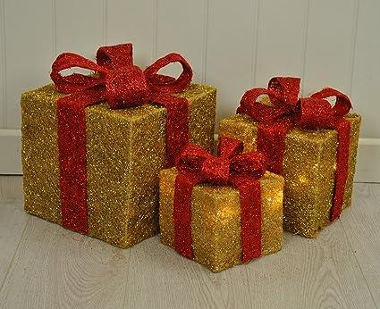 Juego de 3 LED con luz cajas regalo con decoración de Navidad