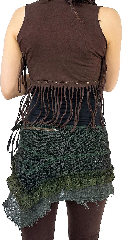 VISHES mini jupe brodé Goa rock hippie Cacheur Fleurs Rock