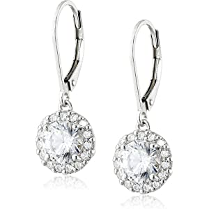 77a46d5d8 Platinum Plated Sterling Silver Leverback Drop Earrings Set with Round Cut  Swarovski Zirconia
