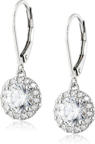 Platinum Or Gold Plated Sterling Silver Halo Swarovski Zirconia Stud Earrings Women Jewelry