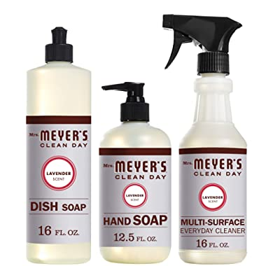 Mrs. Meyers Clean Day Kitchen Basics Set, Lavender Scent, Dish Soap (16 fl oz), Hand Soap (12.5 fl oz), Multi-Surface Everyday Cleaner (16 fl oz)