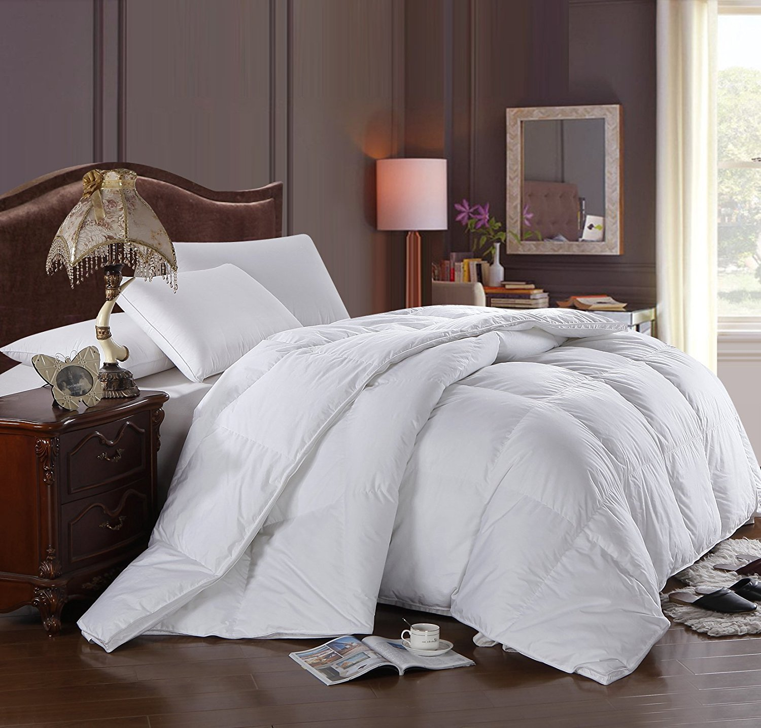 Royal Hotel's 300 Thread Count King / California-King Size Goose Down Alternative Comforter 100% Cotton Shell 300 TC - 750FP - 86 Oz - Solid White
