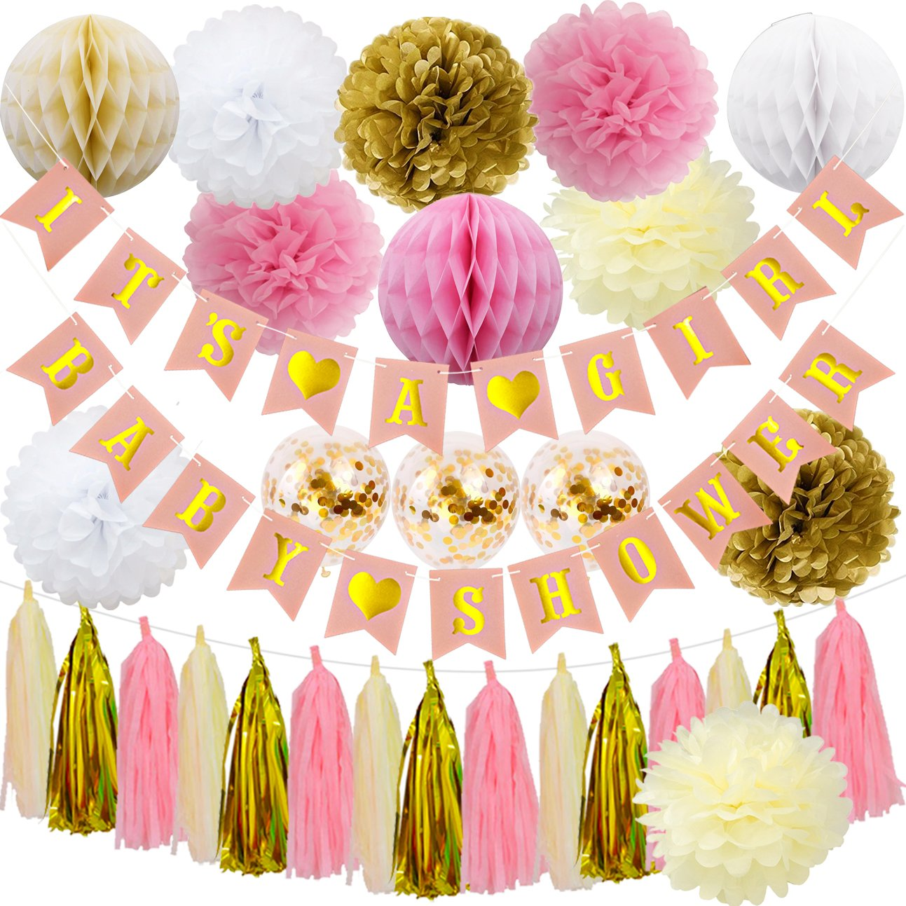 Baby Girl Baby Shower Decorations, It's a Girl Baby Shower Banner with Paper Honeycomb Balls, Pom Poms, Confetti Balloons, Cute for Gender Reveal Parties Nursery Decoration SG029