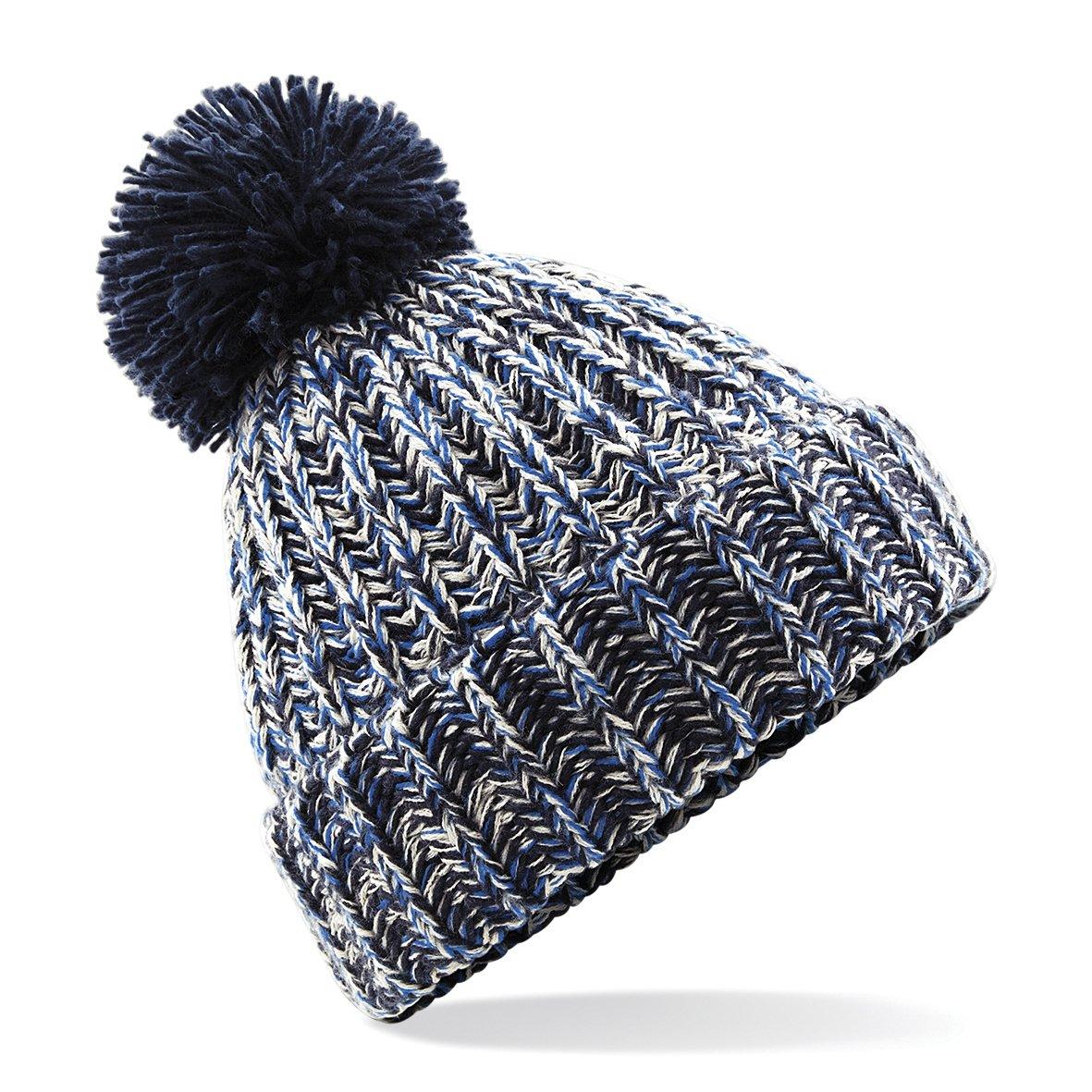 Beechfield Unisex Twist-Knit Pom Pom Winter Beanie Hat UTRW3669_1