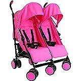 Zeta Citi TWIN Stroller Buggy Pushchair - Raspberry Pink Double Stroller