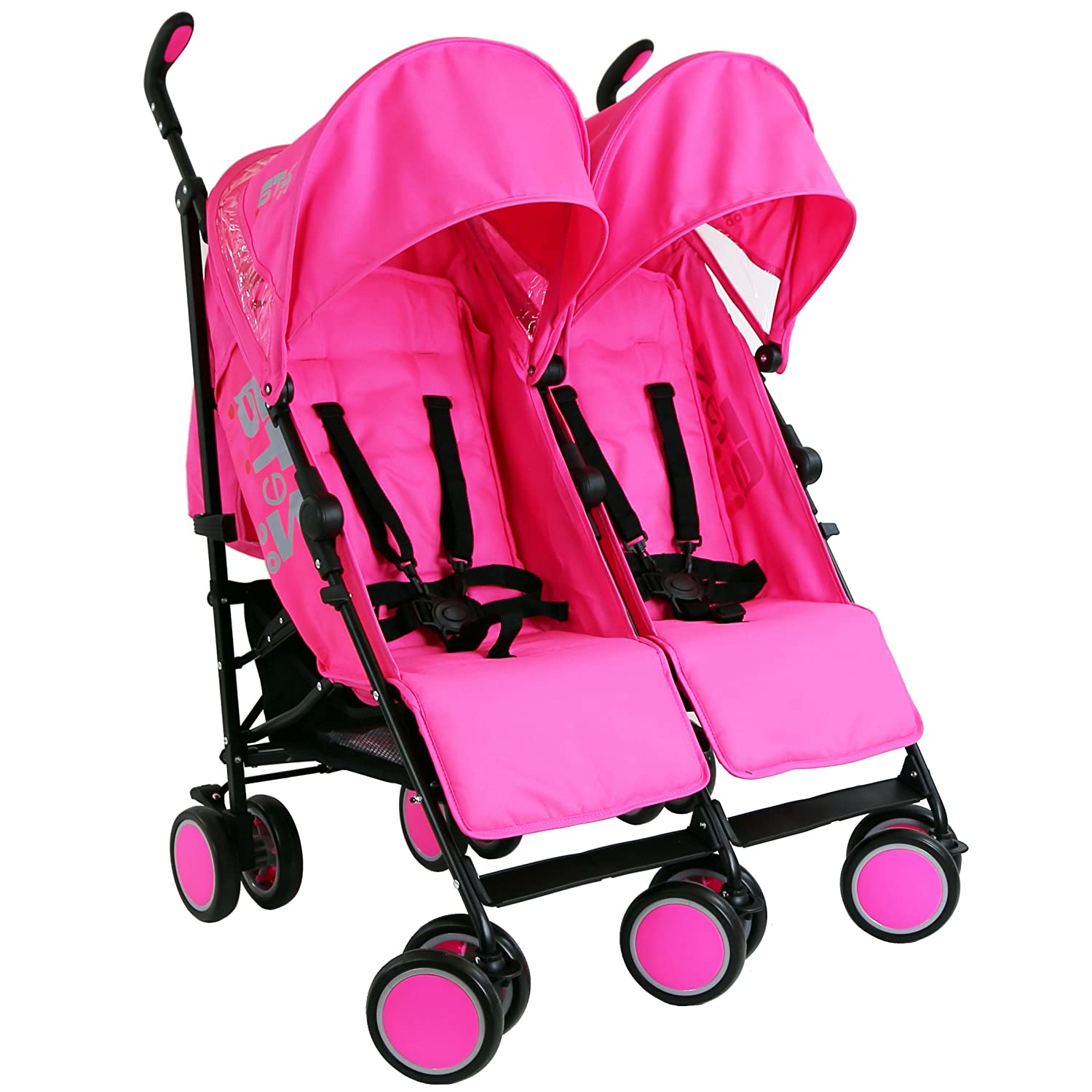 Zeta Citi TWIN Stroller Buggy Pushchair - Raspberry Pink Double Stroller Baby TravelTM