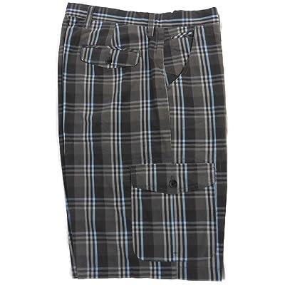 Age of Wisdom Regular Fit Plaid Cargo Shorts 100% Cotton Grey Blue 32