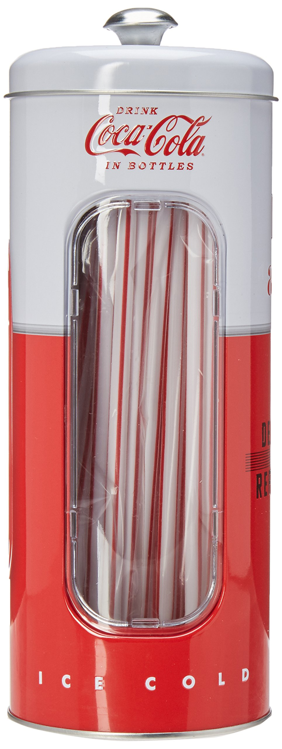Coca-cola Tin Collectible Drinking Straw Holder Dispenser With 50 Straws by Coca-Cola
