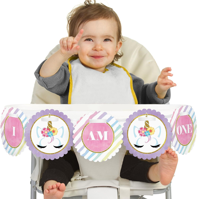 Big Dot of Happiness Rainbow Unicorn 1rst Birthday Highchair Decor - I Am One - First Birthday High Chair Banner