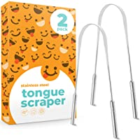 Tongue Scraper (2 pack), Reduce Bad Breath (Medical Grade), Stainless Steel Tongue...