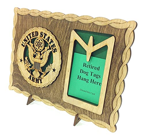 Army Custom Laser Crafted Wooden Dog Tag Holder Plaque