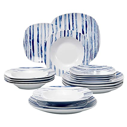 Veweet Joyce 18 Piece Ivory White Porcelain Blue Stripes Dinner
