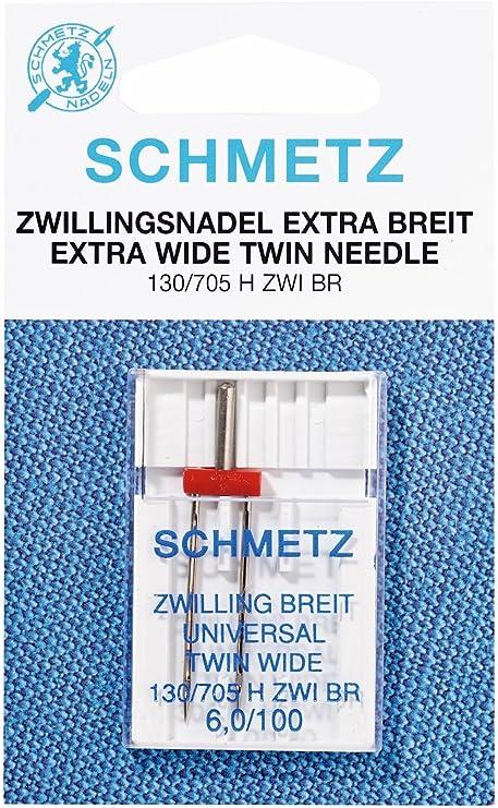 Pack 5 Size 80//12 3mm Gap Sewing Machine Needle Klasse Metallic Twin Needle