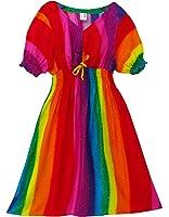 Pikulla V-Neck Short Sleeve Women's Rainbow Gypsy Sundress Multicoloured One Size SML