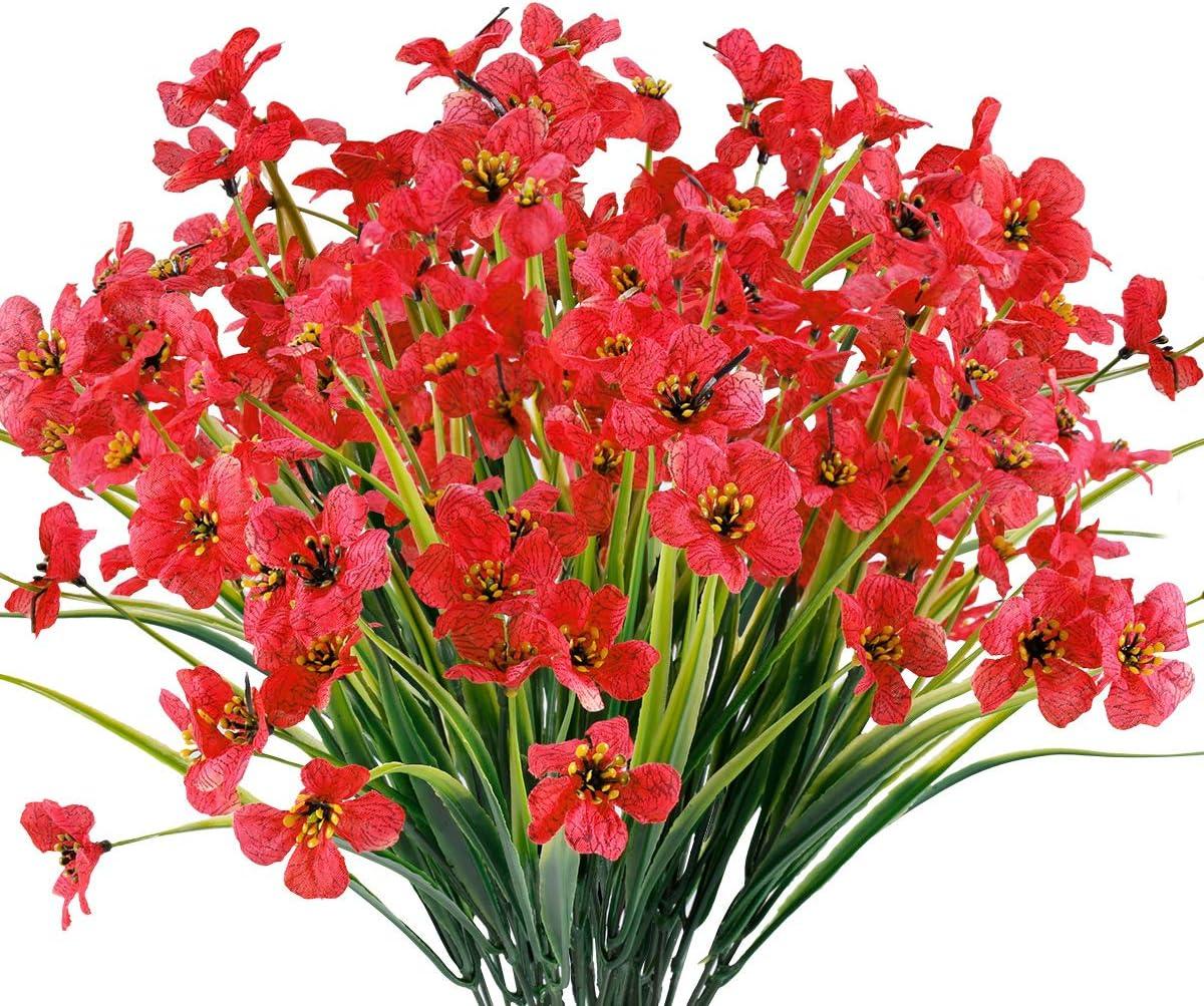 JEMONG 12 Bundles Artificial Flowers Outdoor UV Resistant Fake Flowers No Fade Faux Plastic Plants Garden Porch Window Box Decorating (Deep Red)
