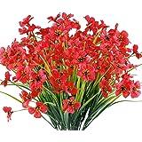12 Bundles Artificial Flowers Outdoor UV Resistant Fake Flowers No Fade Faux Plants Garden Porch Window Box Decorating (Deep