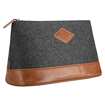 ProCase Toiletry Bag for Men, Large Felt Travel Shaving Kit Case Portable Clutch Makeup Organizer