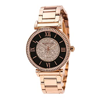 f489dae5f098 Image Unavailable. Image not available for. Color  Michael Kors MK3339  Women s Catlin Black   Rose Gold Crystal Pave Dial Rose Gold Steel Bracelet