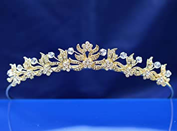 6c9b252a74959d Amazon.com : SC Bridal Tiara, Princess Gold Tiara With Crystal Flower  1053Ga : Beauty