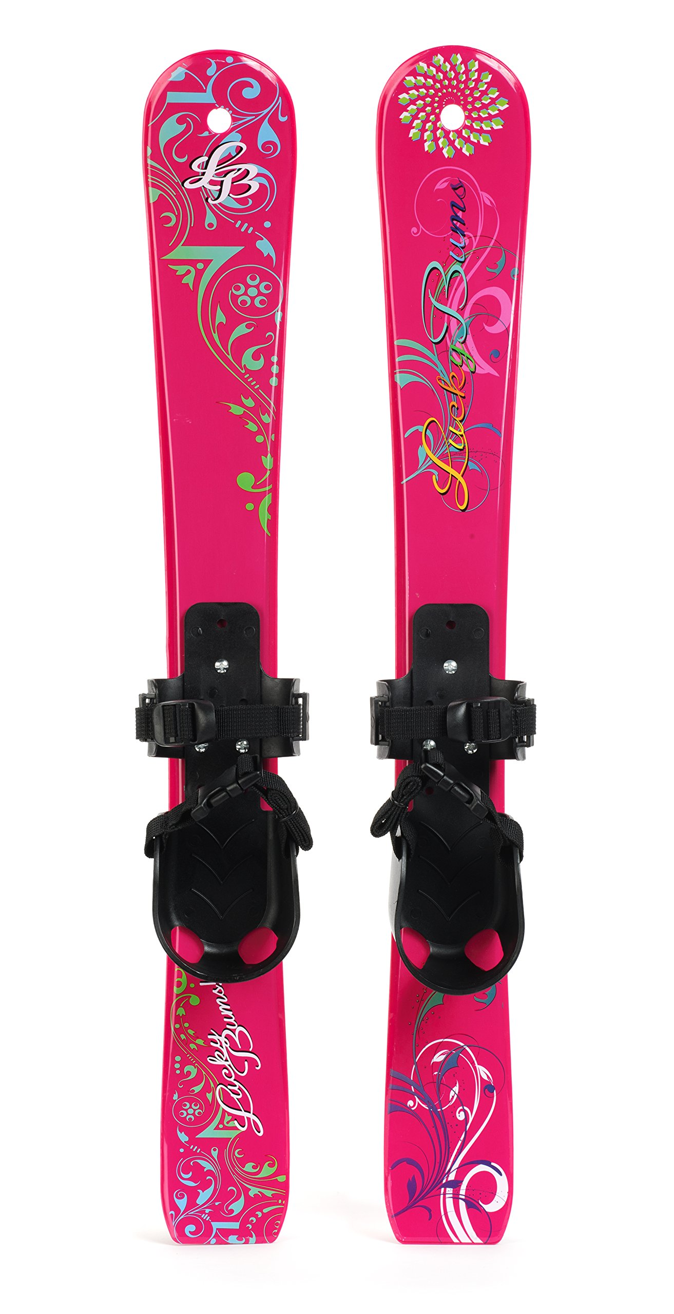 Lucky Bums Kids' Beginner Snow Skis without Poles, Pink/Black, 70 Centimeters by Lucky Bums