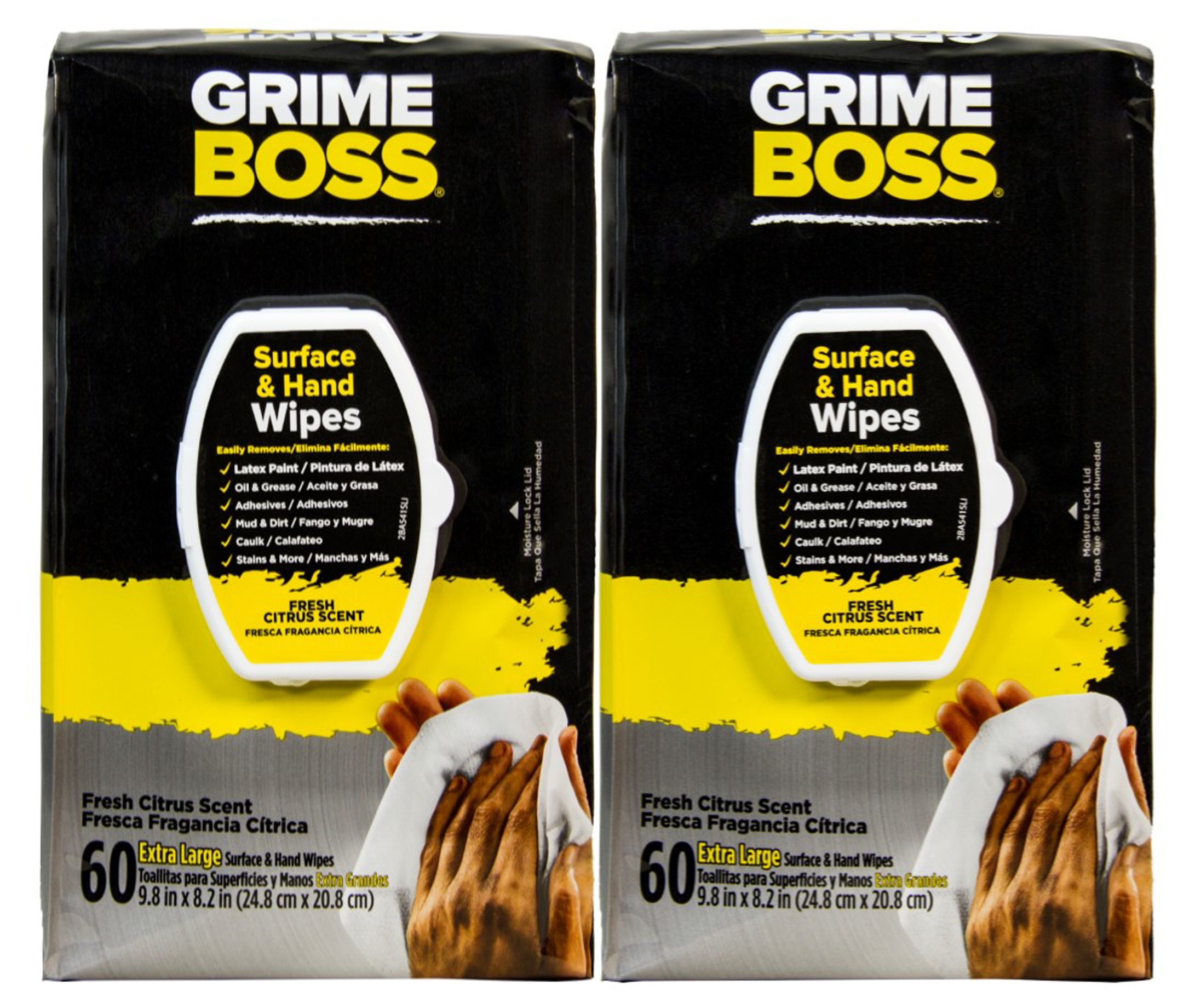 Grime Boss Heavy Duty Wipes Hands, Equipment, Garden, Auto, Camping, 120 Count (2x60 Count)