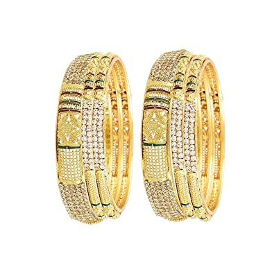 7a9804d152966 YouBella Traditional Jewellery Antique style Gold-plated Golden Bangles for  Women - Set of 6  Amazon.in  Jewellery