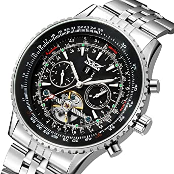 Jaragar Mens Tourbillon Chrongraph Stainless Steel Hand wind Mechanical Watch