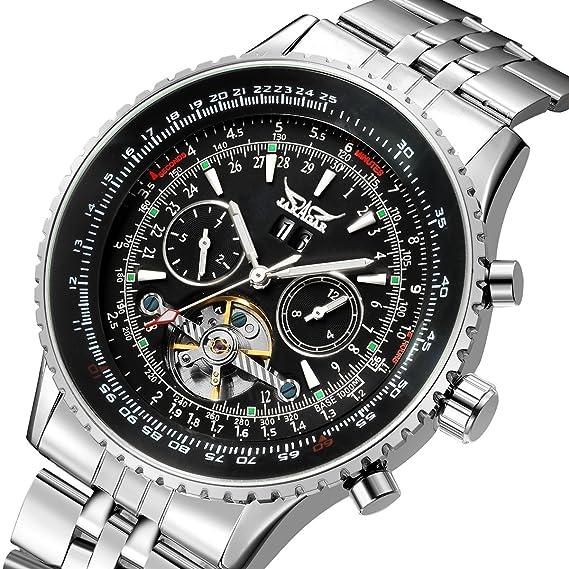 JARAGAR hombre Tourbillon Chrongraph acero inoxidable mano viento mecánico reloj: Amazon.es: Relojes