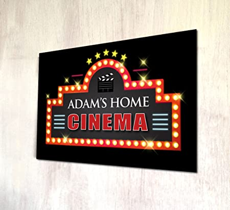 personalised home cinema a4 metal sign wall art amazon co uk