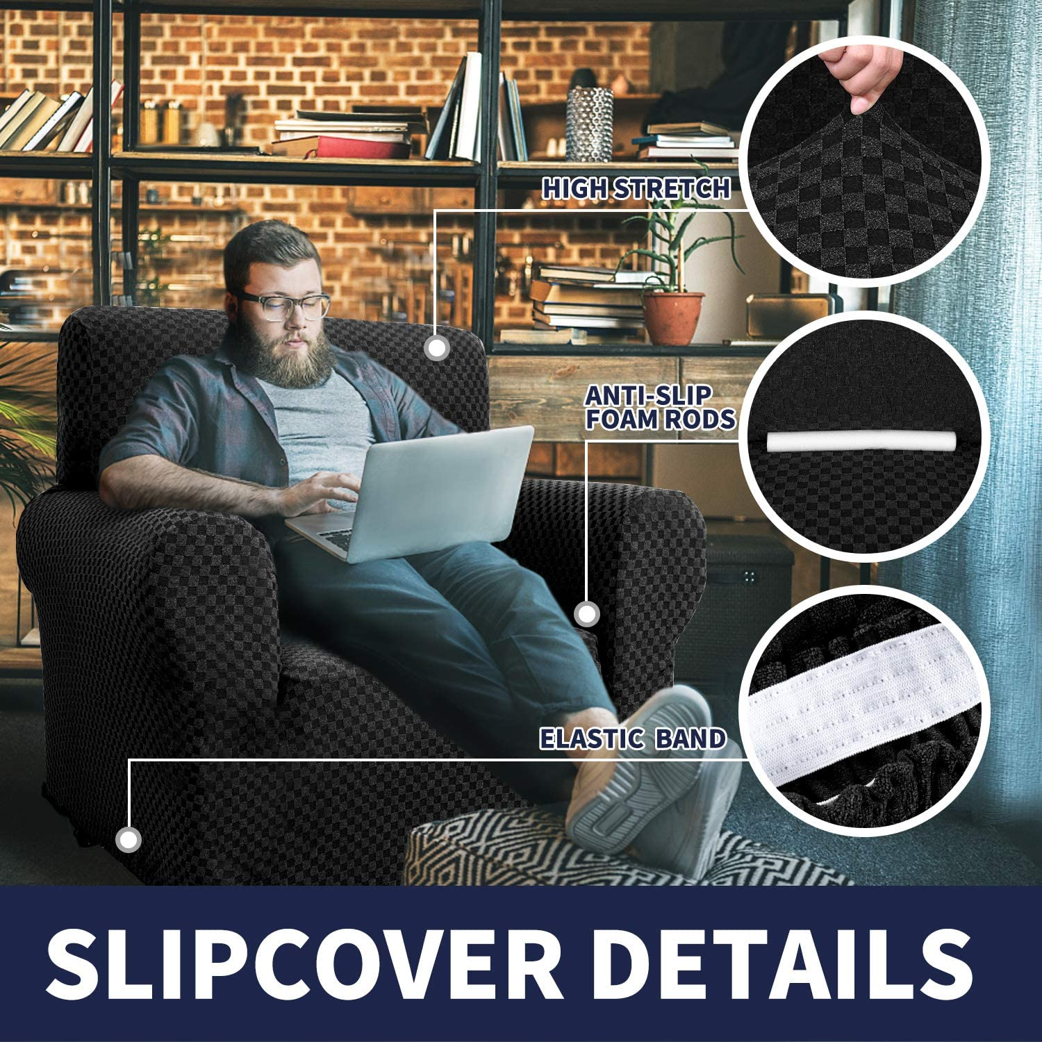 Chelzen Chair Covers for Living Room Innovative Double-Color Chair Slipcovers with Arms High Stretch Spandex Couch Protector Pet Dog Sofa Armchair Slip Cover (Chair, Charcoal Black Checkered): Home & Kitchen
