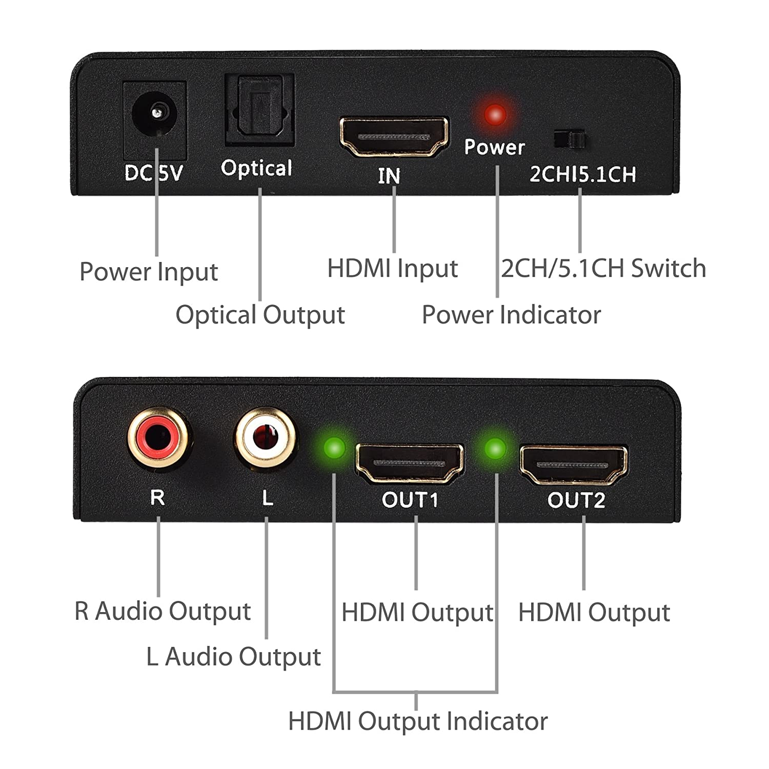 Neoteck 2 Way Hdmi Splitter With Audio Extracter Optical Switch 2ch 51ch Sound Channel Output Support Reading Modes Of Edid Can Between External Edidtv And Built In Edid2ch 51chto Select Stereo