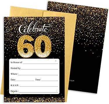 Black And Gold 60th Birthday Party Invitations 10 Cards With Envelopes