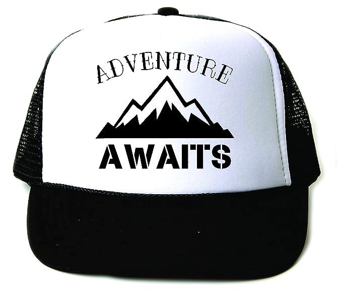 51731bef39a58 Adventure Awaits Trucker Snapback Baseball Cap Summer Vacation Black White
