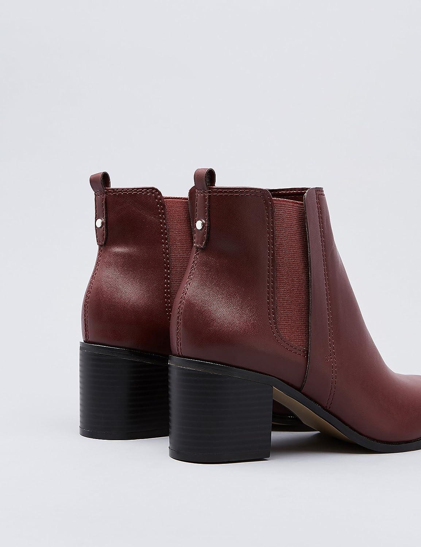 FIND Ankle-Boots Damen mit Kunstleder (Burgendy) und Blockabsatz Rot (Burgendy) Kunstleder 39b99d