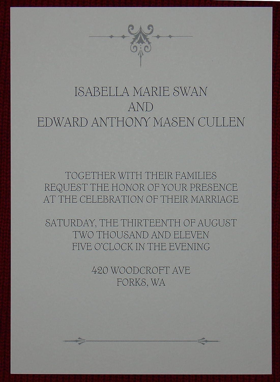 Amazon Com Twilight Breaking Dawn Wedding Invitation Bella Swan Edward Cullen Health Personal Care