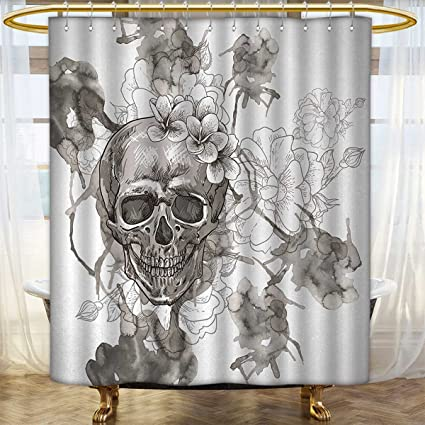 Anhounine Day Of The Dead Shower Curtains Mildew Resistant Painting Skull Flowers Dia De Los Muertos