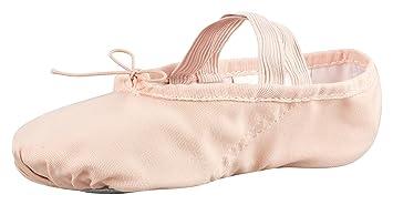 Zapatillas media punta de ballet - Lino, suela partida de cuero - Rosa albaricoque -