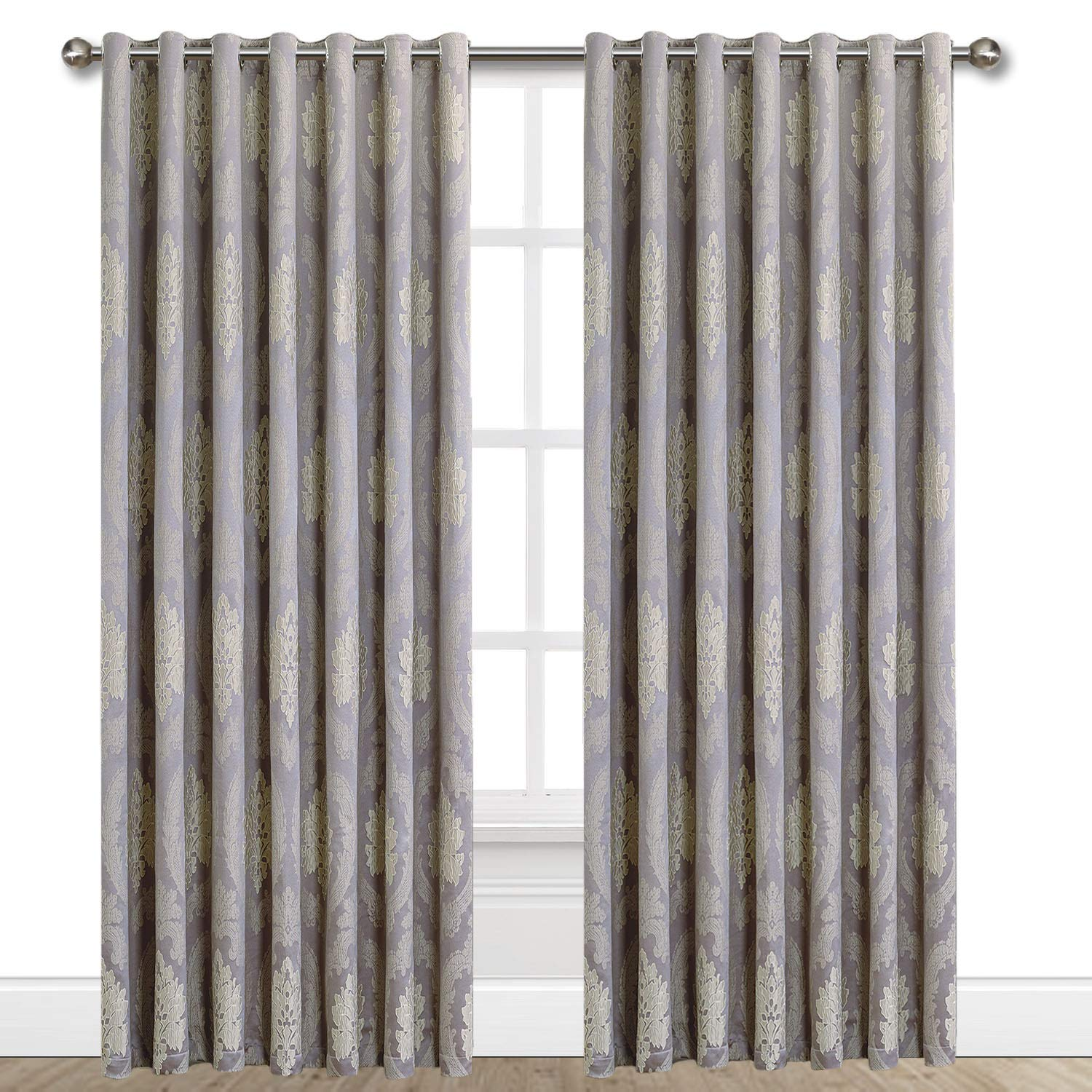 Oxford Homeware Pair Of Damask Luxury Jacquard Eyelet Fully Lined Floral Curtains