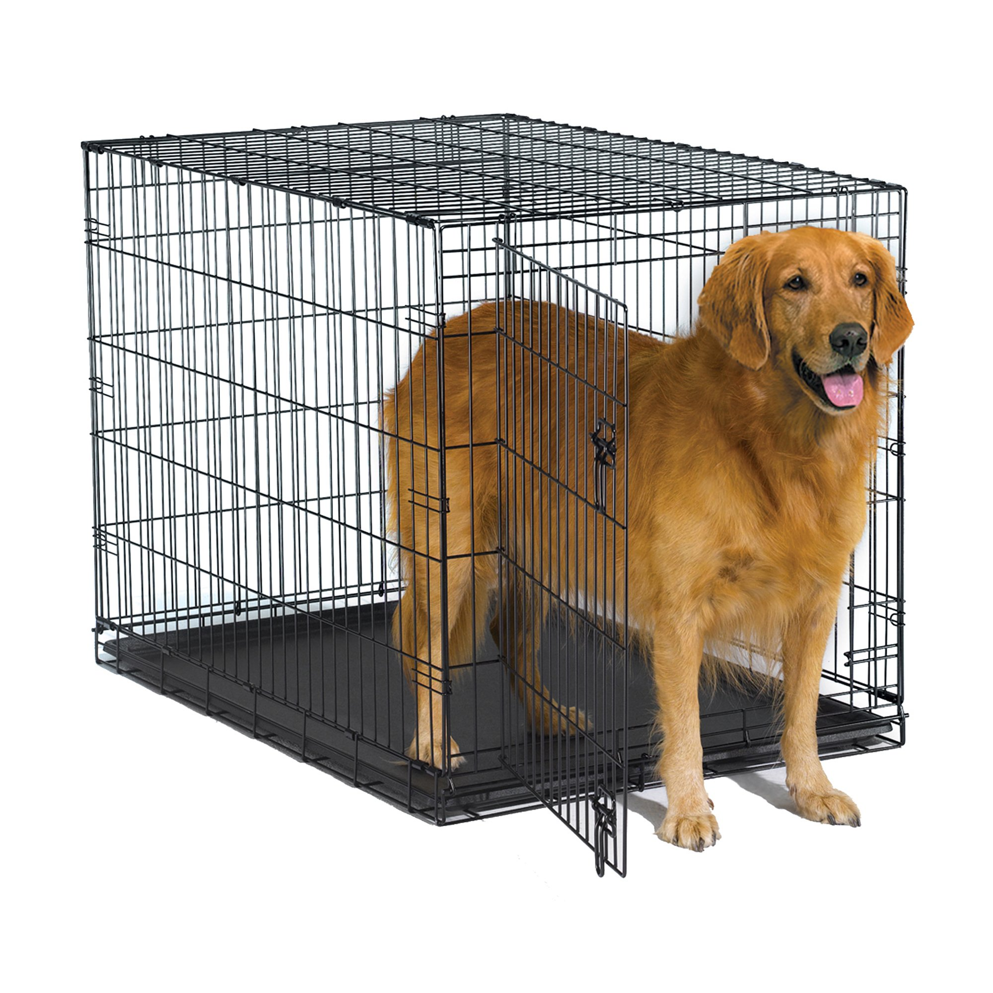 New World 42'' Folding Metal Dog Crate, Includes Leak-Proof Plastic Tray; Dog Crate Measures 42L x 30W x 28H Inches, Fits Large Dog Breeds by New World Crates
