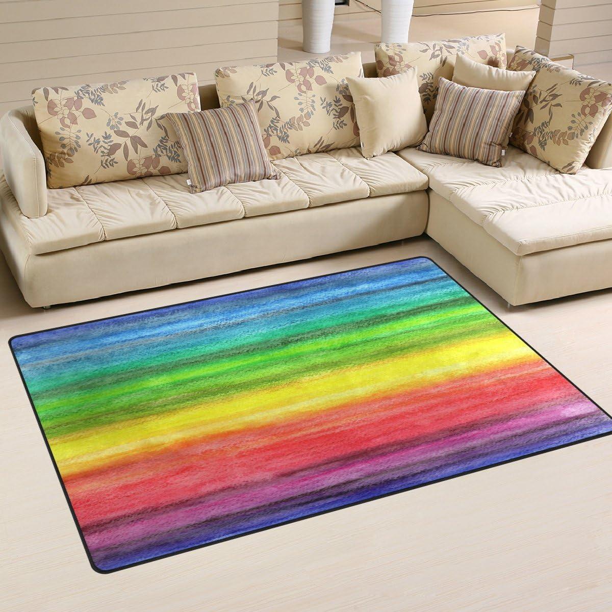 WOZO Watercolor Rainbow Color Area Rug Rugs Non-Slip Floor Mat Doormats Living Dining Room Bedroom Dorm 60 x 39 inches inches Home Decor