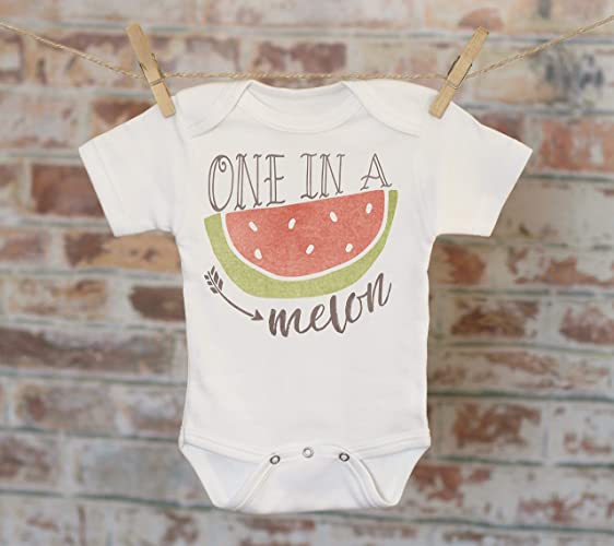 b1362c073 Amazon.com: One In A Melon Watermelon Onesie®, Funny Onesie, Joke Onesie,  Cute Baby Bodysuit, Cute Onesie, Boho Baby Onesie: Handmade