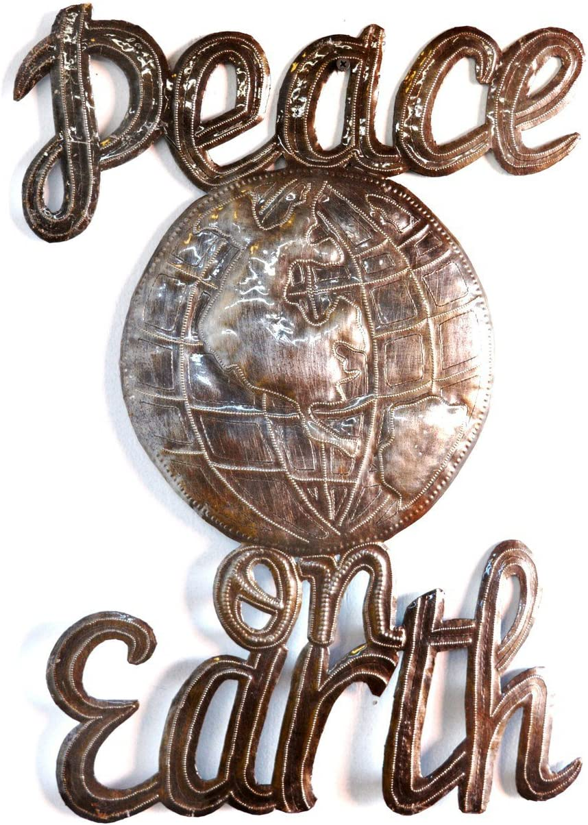 Peace on Earth Wall Sign, Haitian Steel Drum Art, 14 in. x 17 in.