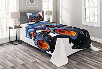 Lunarable Man Cave Bedspread Set Twin Size, Cartoon Monster Truck Huge Tyres Off-Road