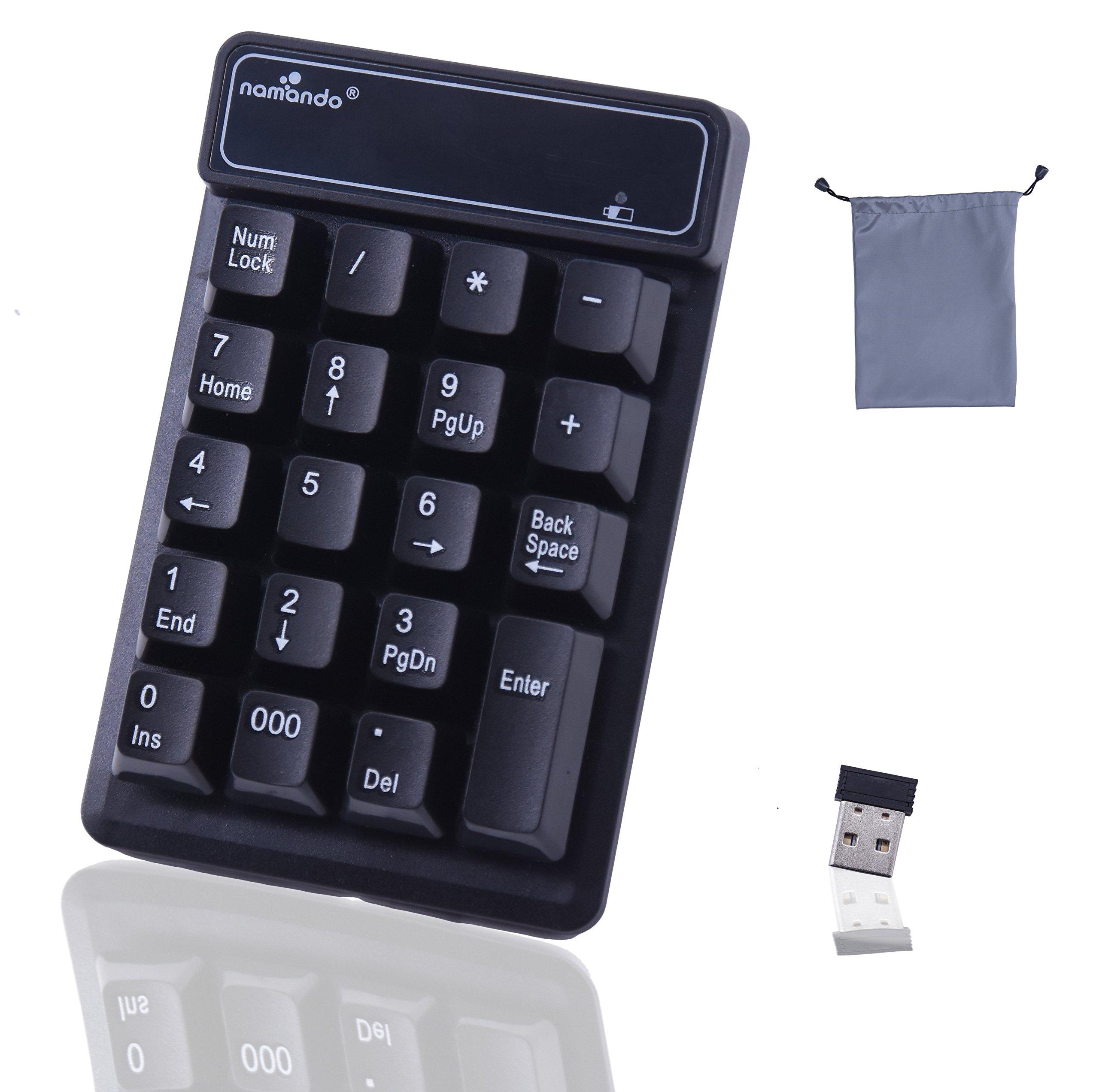 YXFLY 2.4GHz Mini USB Wireless Numeric Keypad - 19 Keys Mechanical Feel Number Pad Water-proof Keyboards for Laptop Desktop PC Notebook Black