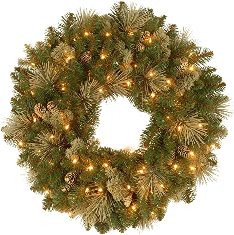 24 Oval work wreath long needle pine with twig Double ring  31 tips Green