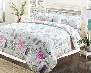 Twin 3 Piece Bedding Girls Comforter Bed Set, Paris Eiffel Tower Bonjour Pink Purple