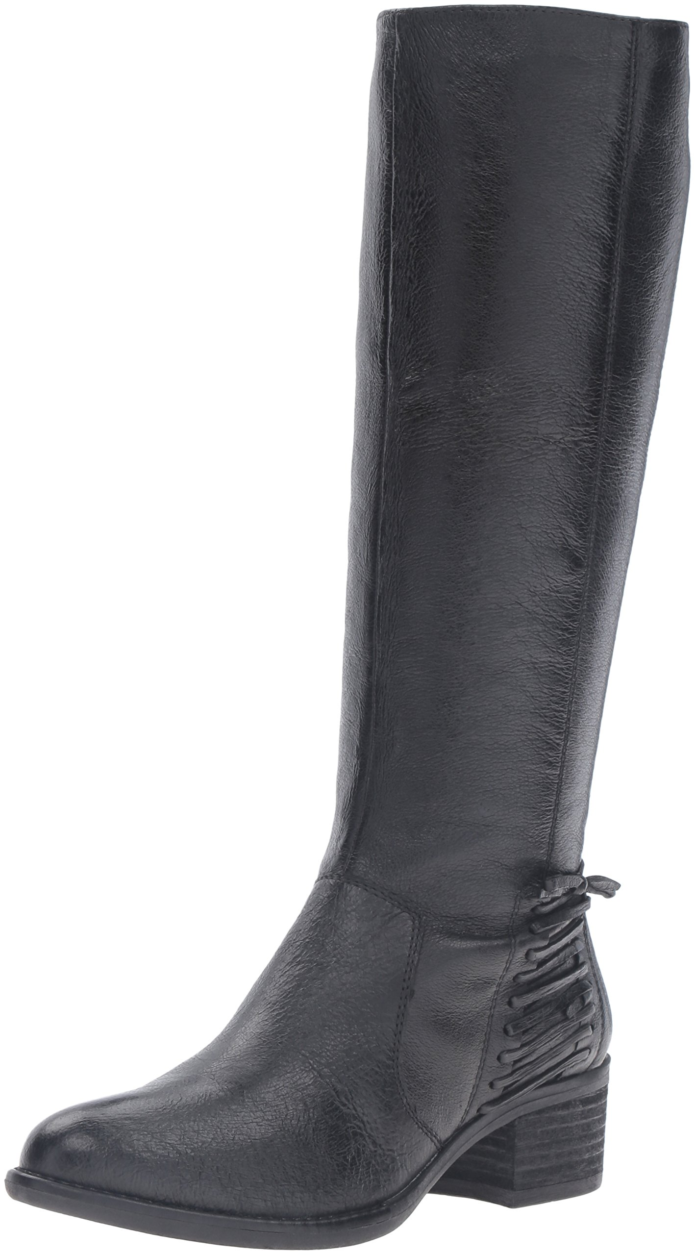 Steve Madden Women's Lonnny Riding Boot, Black Leather, 7.5 M US